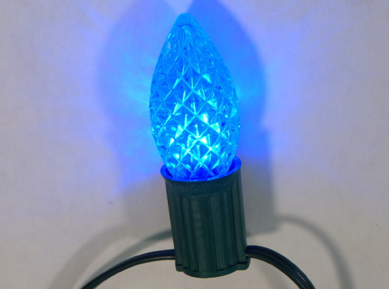 c9 faceted transparent blue led bulbs pack of 25