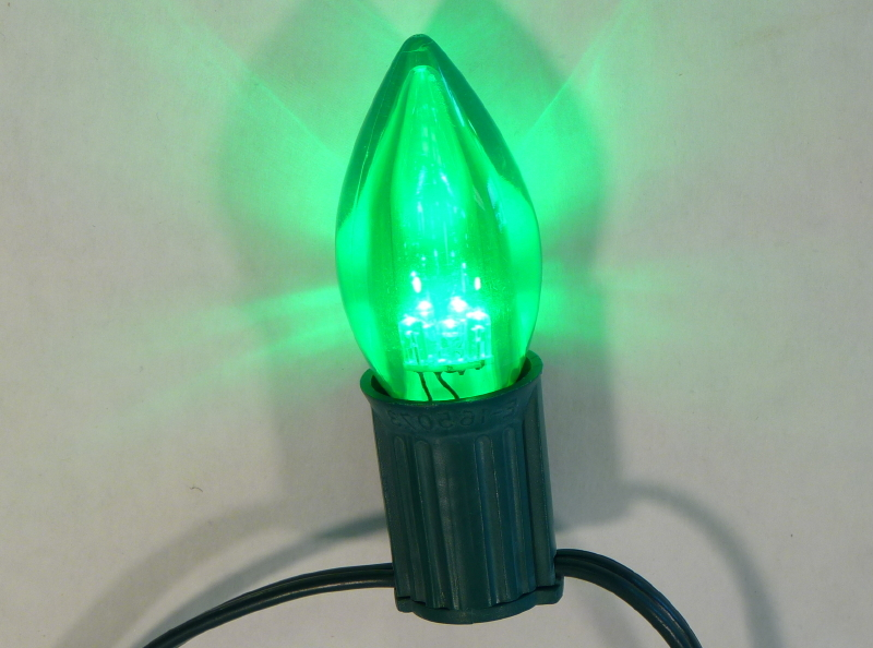 c9 smooth transparent green led bulbs pack of 25