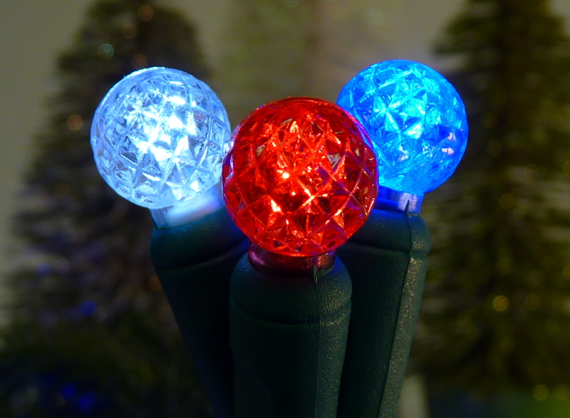 G12 70 Red, White & Blue LED String / Green wire